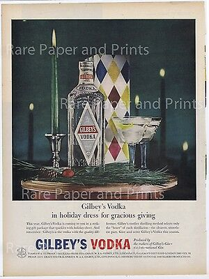 Gilbeys Vodka 1958 Vintage Original Photo Print Ad Free Shipping