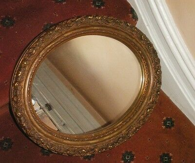 Old Vintage Antique French Gilt Gesso Wooden Oval Frame Victorian Mirror c.1890
