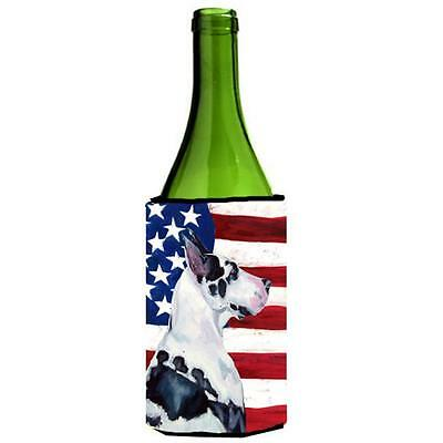 USA American Flag with Great Dane Wine bottle sleeve Hugger 24 oz.