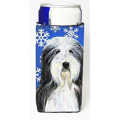 Bearded Collie Winter Snowflakes Holiday Michelob Ultra bottle sleeves for sl...