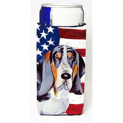 USA American Flag with Basset Hound Michelob Ultra bottle sleeves for slim ca...