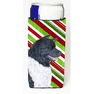 Akita Candy Cane Holiday Christmas Michelob Ultra bottle sleeves For Slim Can...