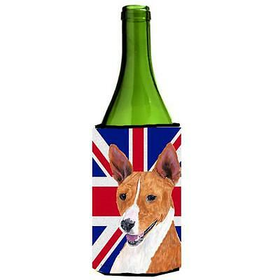 Basenji With English Union Jack British Flag Wine bottle sleeve Hugger 24 Oz.