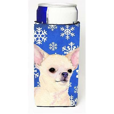 Chihuahua Winter Snowflakes Holiday Michelob Ultra bottle sleeve for Slim Can