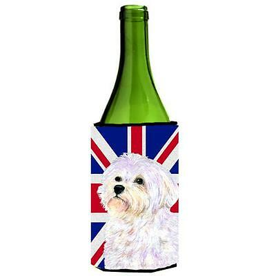 Maltese With English Union Jack British Flag Wine bottle sleeve Hugger 24 Oz.
