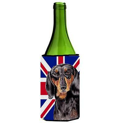 Dachshund With English Union Jack British Flag Wine bottle sleeve Hugger 24 Oz.