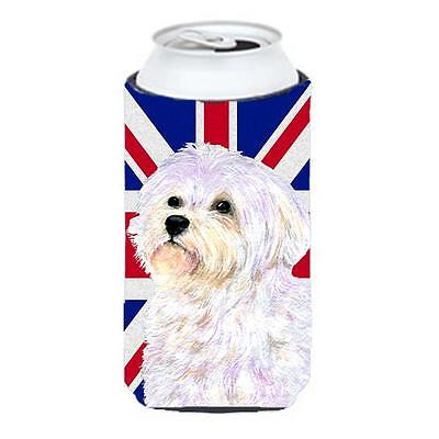 Maltese With English Union Jack British Flag Tall Boy bottle sleeve Hugger 22...