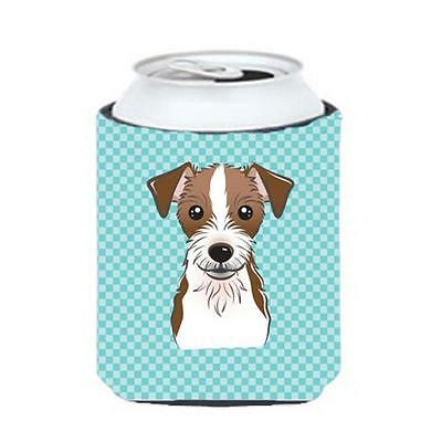 Checkerboard Blue Jack Russell Terrier Can Or Bottle Hugger, 12 Oz.