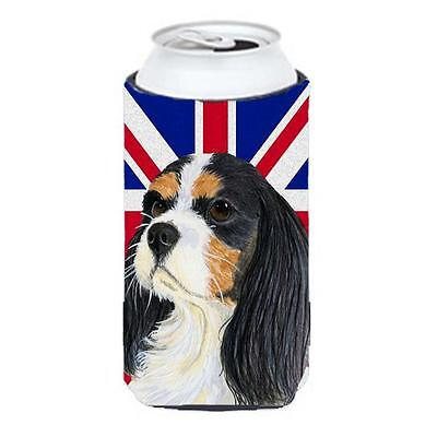 Cavalier Spaniel With English Union Jack British Flag Tall Boy bottle sleeve ...