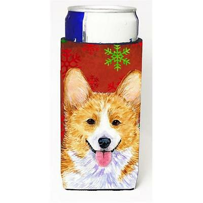 Corgi Red And Green Snowflakes Holiday Christmas Michelob Ultra bottle sleeve...