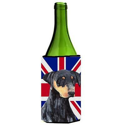 Doberman With English Union Jack British Flag Wine bottle sleeve Hugger 24 Oz.