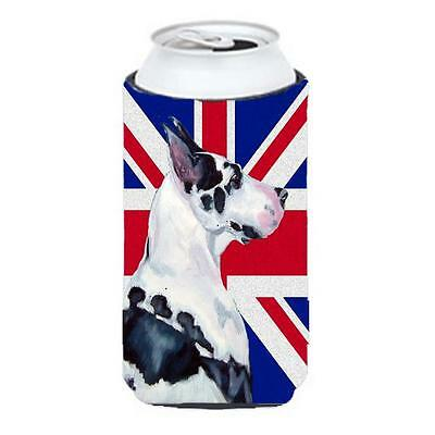 Great Dane With English Union Jack British Flag Tall Boy bottle sleeve Hugger...