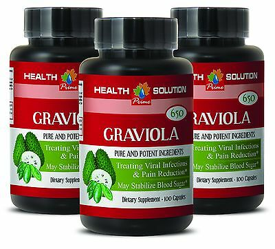 soursop plant - GRAVIOLA Leaf Extract 650 Mg - reduce swelling and pain - 3 Bot