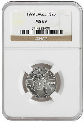 1/4oz $25 Platinum American Eagle MS69 NGC (Random Date & Label Type)