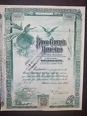 Lot   5    BANCO Central MEXICANO 1905 + coupons   speculation