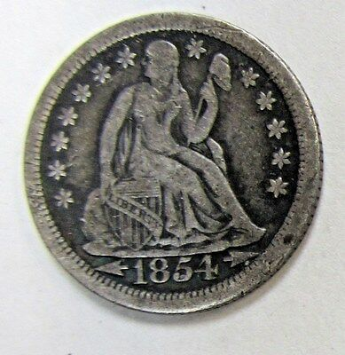 1854-O Seated Liberty  Dime Arrows At Date