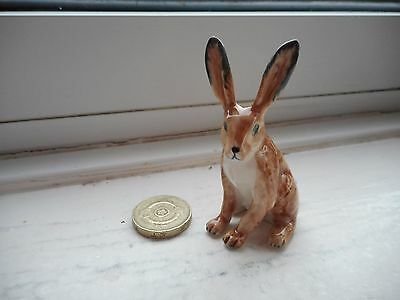 Hare - Pottery -  Beautiful Detail Hare/rabbit Miniature -Upright Pose
