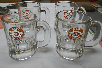 Vintage A&w Small Baby Size Root Beer Soda Mugs Orange Bullseye Nos Toluca Il