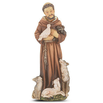 Statue St Francis Assisi 4 inch Painted Resin Figurine Patron Saint Catholic Box
