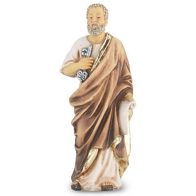 Statue St Peter 4 inch Painted Resin Figurine Patron Saint Catholic Card Boxed