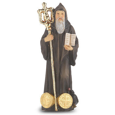 Statue St Benedict 4 inch Painted Resin Figurine Patron Saint Catholic Card Box
