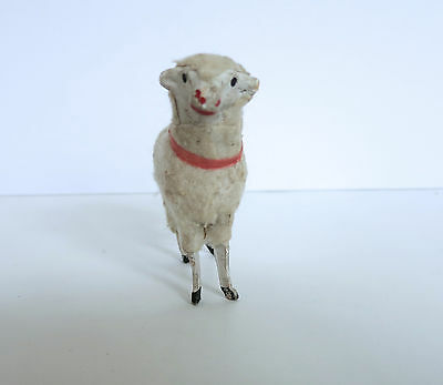 "Vintage Putz Wooly Sheep Wooden Legs Almost 3"" High AAFA"