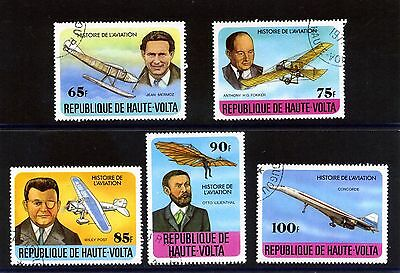 UPPER VOLTA 1978 AVIATION HISTORY SET OF 5 STAMPS FINE USED SG 475-79 : See Scan