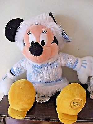 Minnie Mouse blue Christmas Outfit plush doll Disney Store With Label