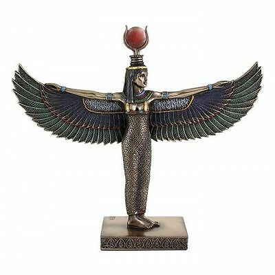 """Egyptian Winged Isis Standing Statue Sculpture Figurine Cold Cast Bronze 8.5"""" H"""