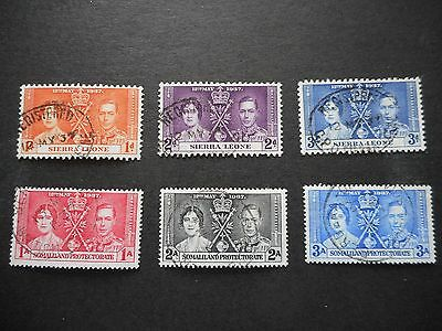 1937 Coronation sets from Sierra Leone and Somaliland good used