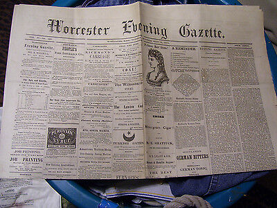 July 12 1870 WORCESTER EVENING GAZETTE Newspaper Massachusetts Large Broadsheet