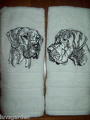 Great Dane Graphic SET OF 2 HAND TOWELS EMBROIDERED Beautiful