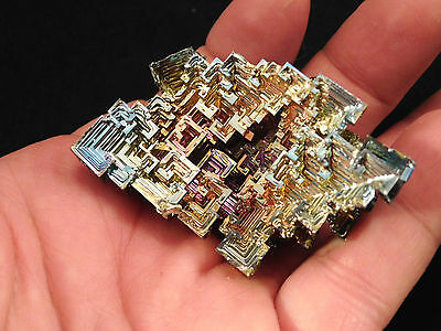 A Very Symmetrical Blue and Gold Colored BISMUTH Crystal Germany! 90.6gr e