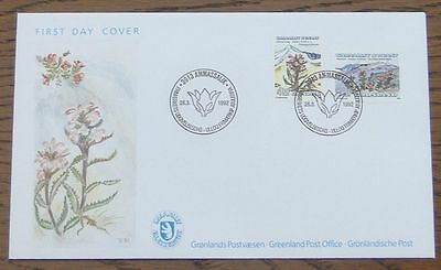 Greenland 1992 Flowers FDC with Official Postmark (Se1