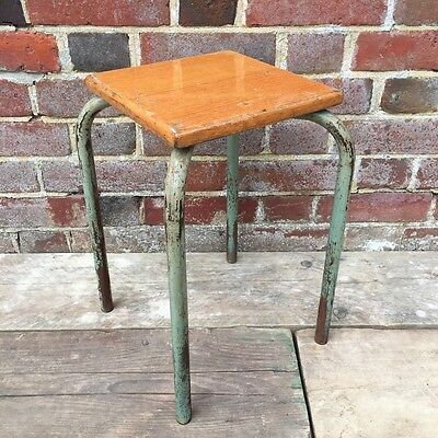 Industrial Vintage French School Workshop Factory Stool