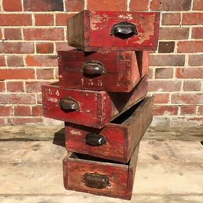 Industrial Vintage French Haberdashery Drawer boxes