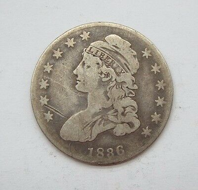 BARGAIN 1836 Capped Bust/Lettered Edge Half Dollar GOOD Silver 50-Cents