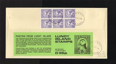 LUNDY: 1988 96p BOOKLET FIRST DAY COVER