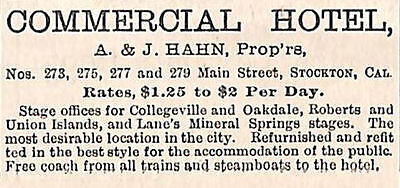 Old 1886 Commercial Hotel & Stage Offices Ad Stockton Ca California