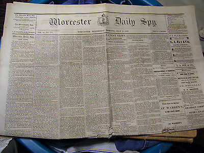 WORCESTER DAILY SPY July 6 1870 Newspaper Broadsheet Massachusetts