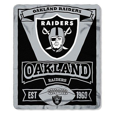 Oakland Raiders Fleece Blanket Throw, Marquee Design