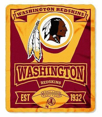 Washington Redskins Fleece Blanket Throw, Marquee Design