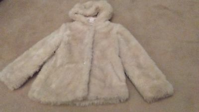 Girls fur coat with hood, excellent condition