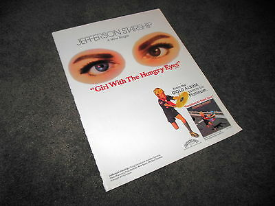 JEFFERSON STARSHIP Hungry Eyes + FOREIGNER BILLBOARD 11x14 Ad Poster