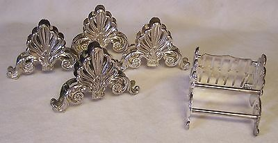 Silver Plate Silverware Holders/caddies Display Or Storage 5 Pieces