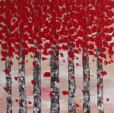 ORIGINAL RED TREES TEXTURED KNIFE PAINTING ON CANVAS CONTEMPORARY ART 60x60cm