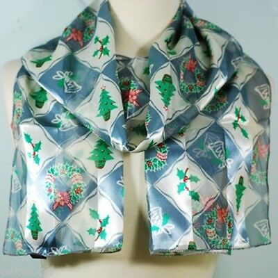Christmas Silver Bell Wreath Holly  Long Silk Feel Satin Scarf Belt Sash  Vhtf!