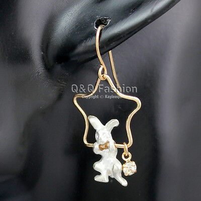 Gold Alice In Wonderland Shooting Star March Hare Rabbit Dangle Earrings Gift