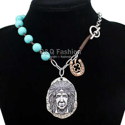 Silver Native 3D Indian Chief Horse Shoe Turquoise Toggle Zuni Chain Necklace