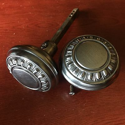 Antique Pair Of Victorian Mission Egg & Dart Design Steel Door Knobs